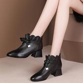 裸靴 秋冬新款粗跟中跟蝴蝶結小短靴女時尚百搭單靴馬丁靴 - 歐美韓熱銷