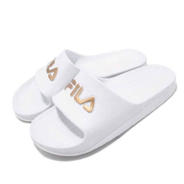 FILA 拖鞋 完全防水 白 金 復古 一片拖 運動拖鞋 男鞋 女鞋【PUMP306】 4S355T119