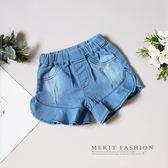 夏日花邊氣質淺色年仔短褲 女童 闊腿褲 百搭 刷色 日系 夏天 清新 哎北比童裝