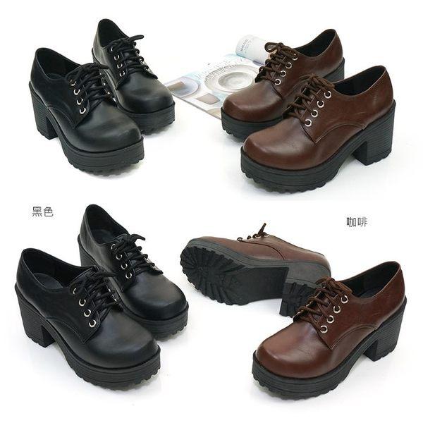 短靴.台灣製MIT.簡約繫帶厚底短靴.黑/咖啡【鞋鞋俱樂部】【028-6126】