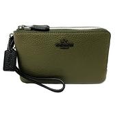 【COACH】雙色牛皮L型雙層拉鍊手拿零錢包(橄欖綠/米白)