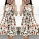 洋裝—夏季新款韓版短款棉綢連身裙女士人造棉碎花學生綿綢收腰裙子 草莓妞妞
