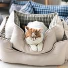 寵物狗窩貓窩方形窩寵物墊中小型犬狗床保暖軟【小獅子】