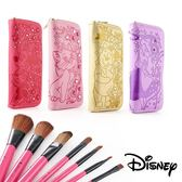 Disney迪士尼 皮革壓紋水鑽化妝刷具套組 ◆86小舖 ◆