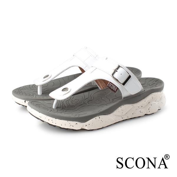 SCONA 蘇格南 真皮 運動休閒舒適夾腳涼鞋-男款 白色 1751-3