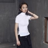 短袖T恤-短款純色簡約高領百搭女上衣2色73sl10[巴黎精品]