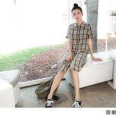 《DA7816-》復古格紋配色排釦襯衫洋裝 OB嚴選