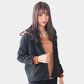運動--休閒簡約舒適保暖撞色連帽羅紋口袋寬鬆刷毛拉鍊外套(黑L-3L)-J265眼圈熊中大尺碼◎