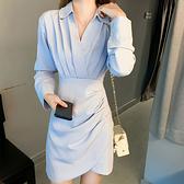 長袖洋裝 皺褶襯衫連身裙-媚儷香檳-【FD0153】