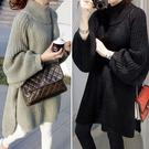 新品上市# 歐美風新款秋冬季女裝套頭慵懶寬松針織衫中長款毛衣連衣裙