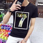 短袖T恤 男士圓領修身半袖印花學生上衣潮流男裝《印象精品》t50