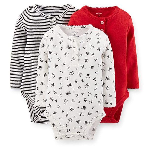 【美國Carter's】長袖包屁衣3件組 - 歡樂耶誕系列  111A360