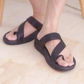 真皮男涼鞋 黑 平底休閒 真皮涼鞋 海灘鞋 拖鞋 韓國 韓系《SV8790》快樂生活網