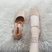 方頭鞋 奶奶鞋韓版百搭中跟包頭涼鞋女復古方頭粗跟單鞋瑪麗珍  『魔法鞋櫃』