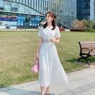 雪紡洋裝 韓版 白色連身裙收腰顯瘦百褶裙長裙9305H325依佳衣