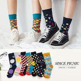 襪子 Space Picnic|預購.可愛滿版印圖設計中筒襪【C18072001】