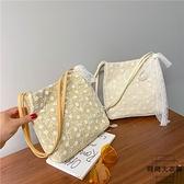 單肩包草編蕾絲手提包大容量水桶購物袋【時尚大衣櫥】