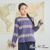 【Tiara Tiara】民俗風花樣長短版落肩上衣(藍紫/灰)