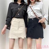 夏2019新款韓版chic大碼高腰a字牛仔短裙女學生不規則包臀半身裙