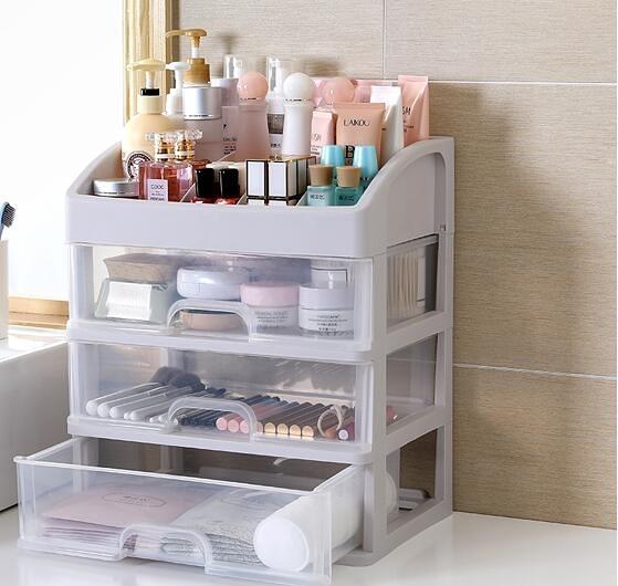 特大號抽屜式透明化妝品收納盒塑料桌面