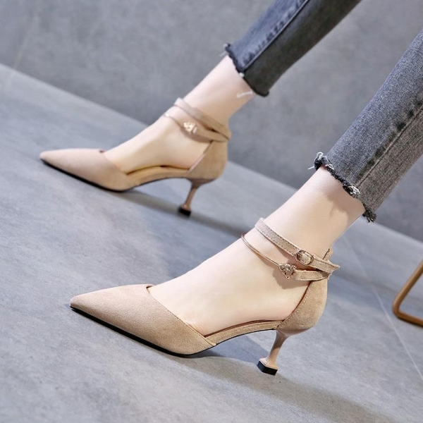 2021新款網紅尖頭綁帶高跟鞋絨面黑色一字扣帶涼鞋女性感夜場細跟 【端午節特惠】