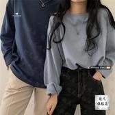 情侶T 情侶款寬鬆長袖純色T恤新款秋季女港風打底衫韓版中長款上衣-快速出貨