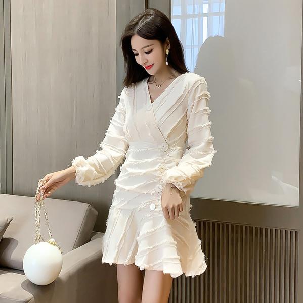 超殺29折 韓國風新款收腰顯瘦荷葉邊魚尾長袖洋裝