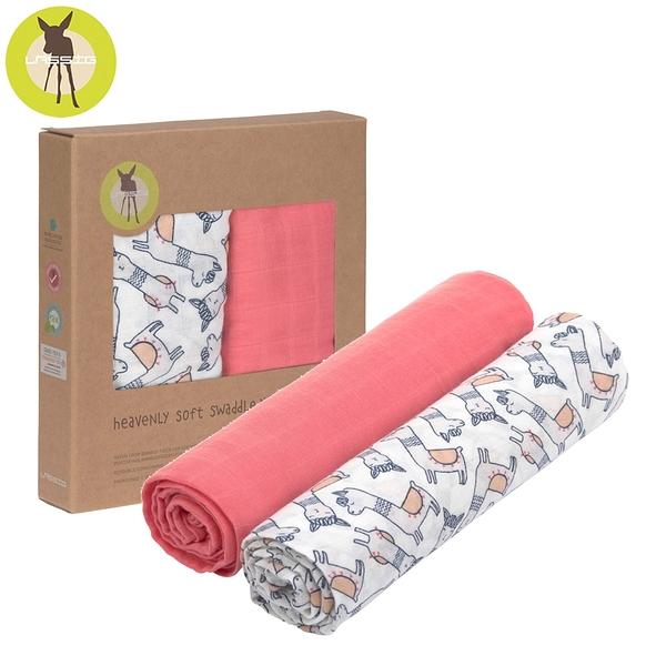 德國Lassig-超柔手感竹纖維嬰兒包巾毯2入-羊駝粉