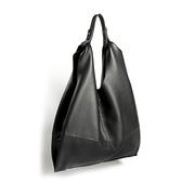 真皮側背包-黑色牛皮大容量可摺疊女手提包73vd42【巴黎精品】