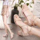 粗跟涼鞋女夏季新款百搭韓版中跟粗跟黑色羅馬一字扣帶性感高跟鞋 mc8266『東京衣社』