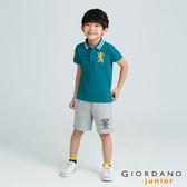【GIORDANO】童裝勝利獅王3D刺繡短袖POLO衫(27 溼地綠)