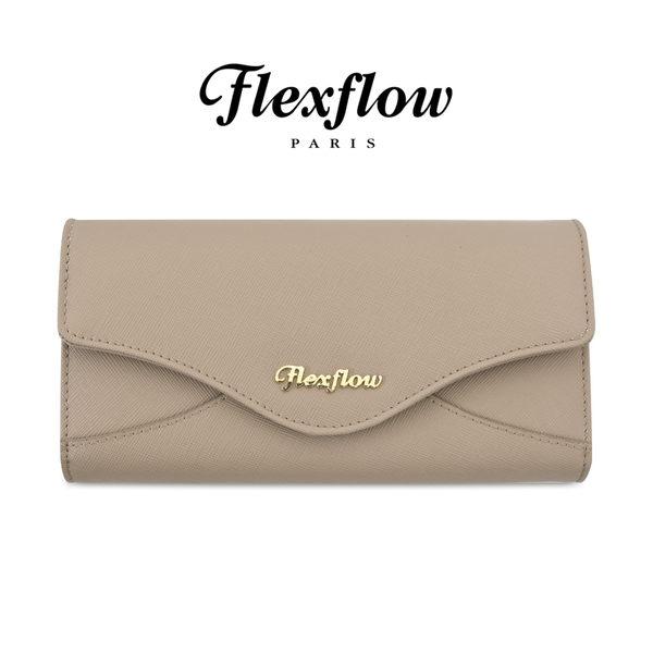 Flexflow-皮雅芙-Piaf-真皮防刮牛皮-蝴蝶三折長夾-磁扣對開式長皮夾-焦糖奶茶色