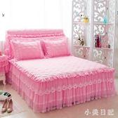 韓版加厚夾棉純色床罩床裙式單件防滑蕾絲荷葉邊1.8米床套三件套 js5755『小美日記』