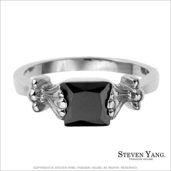 戒指 西德鋼飾「方形黑鑽鋼戒」尾戒 時尚流行款 半寶鋯石