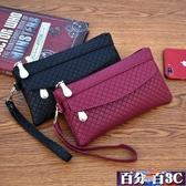 錢包 新款女錢包韓版百搭手拿包潮爆簡約手機包氣質格紋零錢包小包 百分百