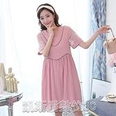9122#實拍孕婦雪紡連身裙短袖時尚寬鬆薄款夏季洋裝【凱斯盾】