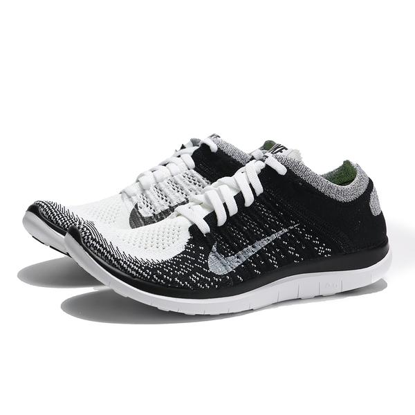 版型偏小建議大半號 NIKE 慢跑鞋 WMNS FREE FLYKNIT 4.0 白黑 健身 女(布魯克林) 631050-100