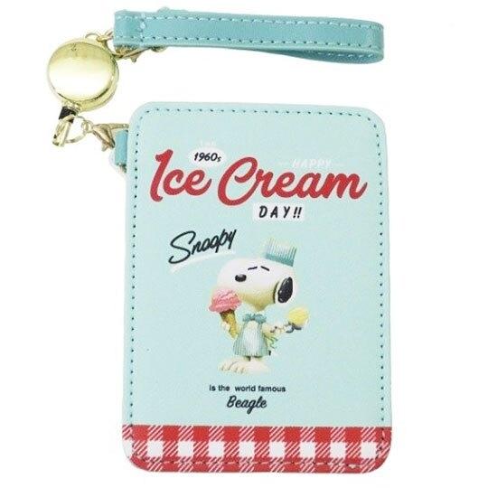 〔小禮堂〕史努比 皮質易拉扣伸縮票卡夾《綠紅.冰淇淋》車票夾.證件夾.卡套 4979274-15683