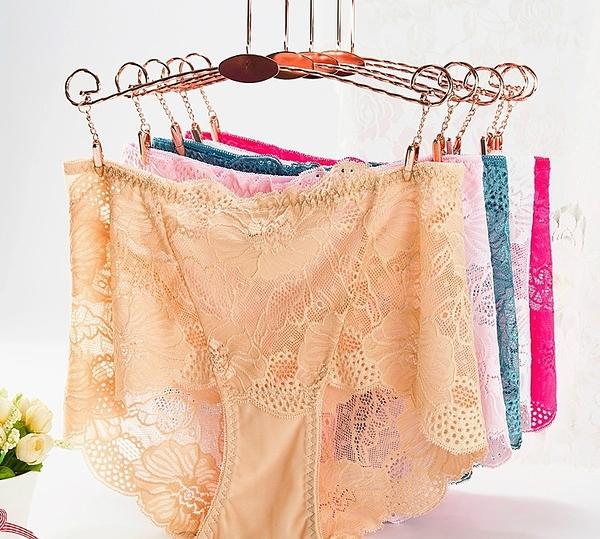 女士中高腰蕾絲大碼內褲 網紗收腹提臀女內褲蕾絲性感透明女內褲4入-1169