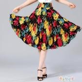 紓困振興 夏季中老年半身裙子碎花短裙中年婦女媽媽中裙冰絲廣場跳舞太陽裙 奇思妙想屋