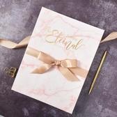 婚禮簽到本大理石紋歐式創意聚會活動簽到冊INS粉色禮金簿簽名冊  熊熊物語