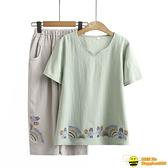兩件式棉麻褲裝 中年媽媽夏裝 兩件套減齡洋氣套裝純棉短袖T恤女棉麻上衣薄款大碼【happybee】