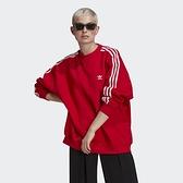 ADIDAS ADICOLOR 女裝 長袖 休閒 棉質 寬鬆 落肩 基本款 紅【運動世界】GN2829