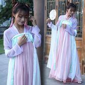 漢服刺繡花雙層齊胸襦裙披帛長裙古表演服 套 「爆米花」