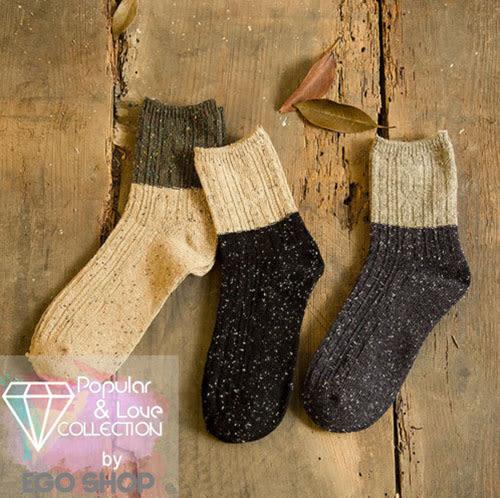 復古 全棉復古襪 粗線點子紗 拚色復古襪