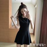 無袖洋裝夏裝A字打底裙修身顯瘦短裙背心裙赫本小黑裙無袖連身裙 愛麗絲精品