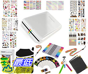 [8美國直購] Polaroid ZIP Mobile Printer Gift Bundle ZINK 9 Unique Colorful Sticker Sets Pouch Twin Tip Markers _T01
