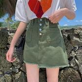 2020夏新款韓版牛仔短裙百搭女高腰顯瘦寬鬆學生半身裙高腰a字裙