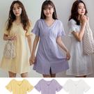 MIUSTAR 排釦雕花刺繡荷葉澎袖棉麻洋裝(共3色)【NH1552】預購