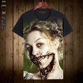 Qoqozozo2018夏季新品短袖t恤美國恐怖故事周邊印花 青少年潮T
